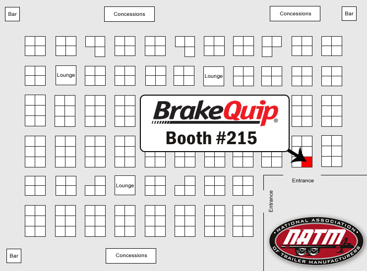 BrakeQuip Booth #215 NATM Show Map